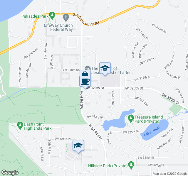 map of restaurants, bars, coffee shops, grocery stores, and more near 4501-4699 Southwest 321st Street in Federal Way