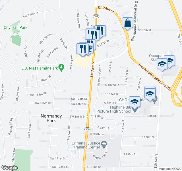 map of restaurants, bars, coffee shops, grocery stores, and more near 18239 Occidental Ave S in Burien