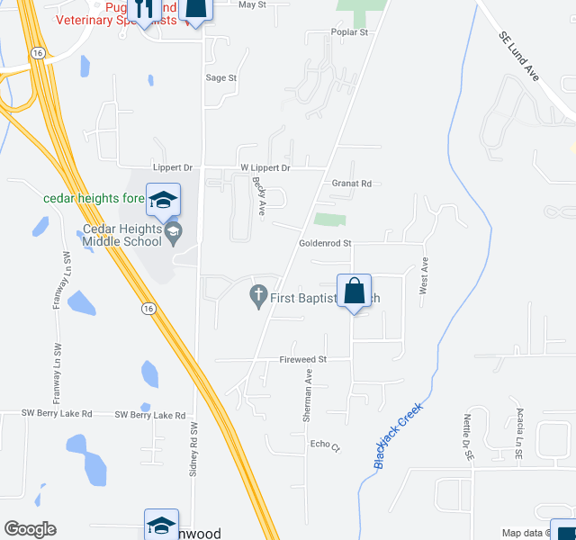 map of restaurants, bars, coffee shops, grocery stores, and more near 2201-2239 Sidney Avenue in Port Orchard
