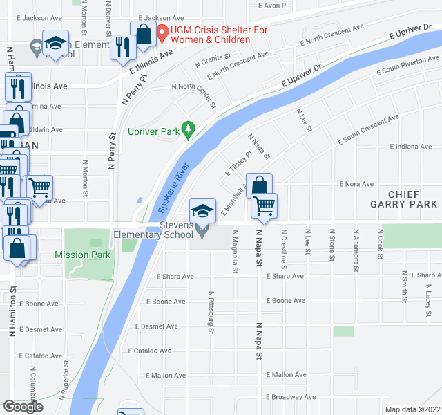 map of restaurants, bars, coffee shops, grocery stores, and more near 1624 E South Riverton Ave in Spokane