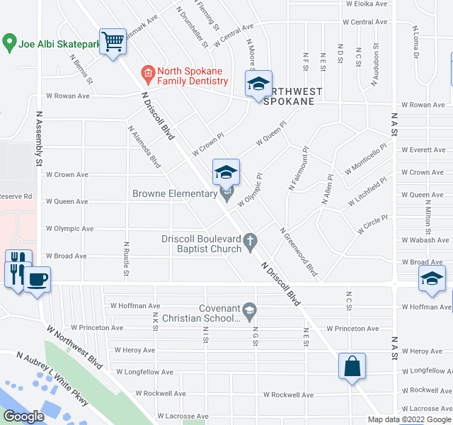 map of restaurants, bars, coffee shops, grocery stores, and more near 4917 N Driscoll Blvd in Spokane