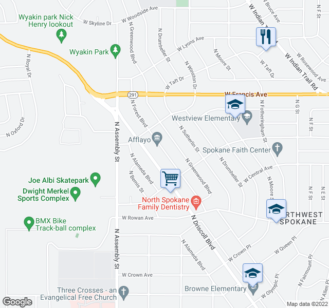 map of restaurants, bars, coffee shops, grocery stores, and more near 5804 N Forest Blvd in Spokane