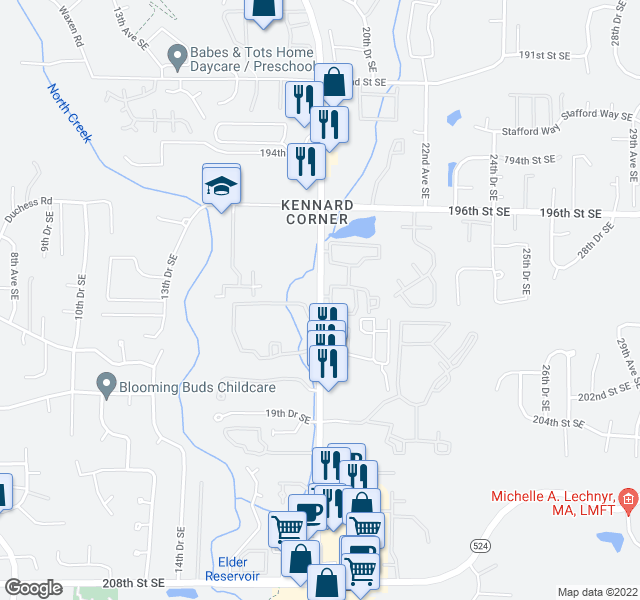 map of restaurants, bars, coffee shops, grocery stores, and more near 19880-19918 Bothell Everett Highway in Bothell