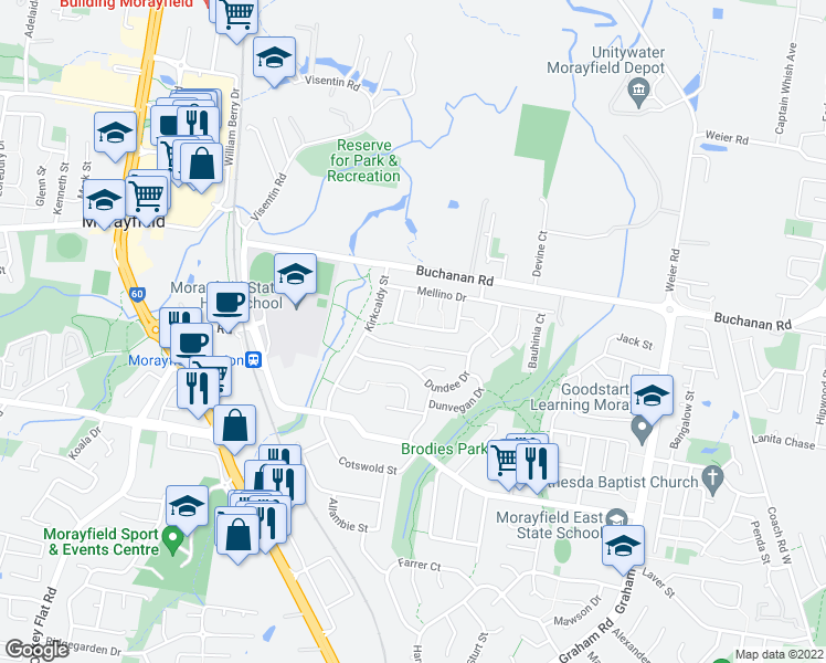 map of restaurants, bars, coffee shops, grocery stores, and more near 24 Carmela Crescent in Morayfield