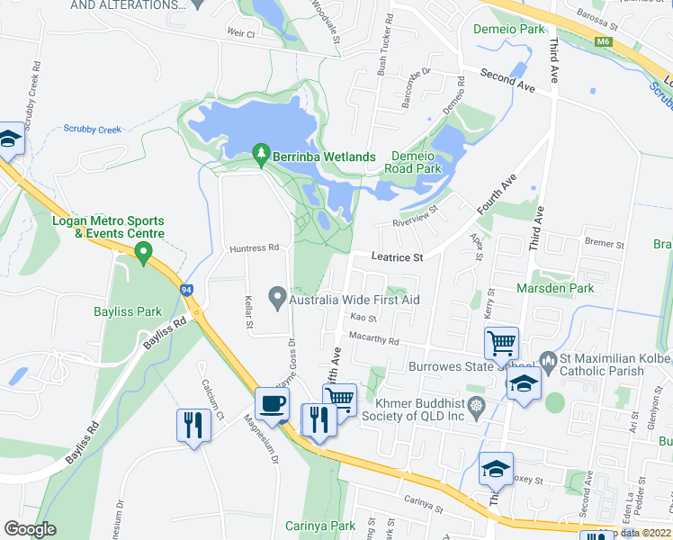 map of restaurants, bars, coffee shops, grocery stores, and more near 11 Sherbourne Court in Browns Plains