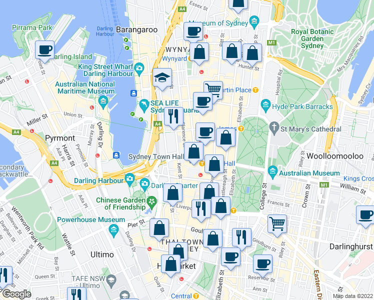 map of restaurants, bars, coffee shops, grocery stores, and more near 222 Clarence Street in Sydney