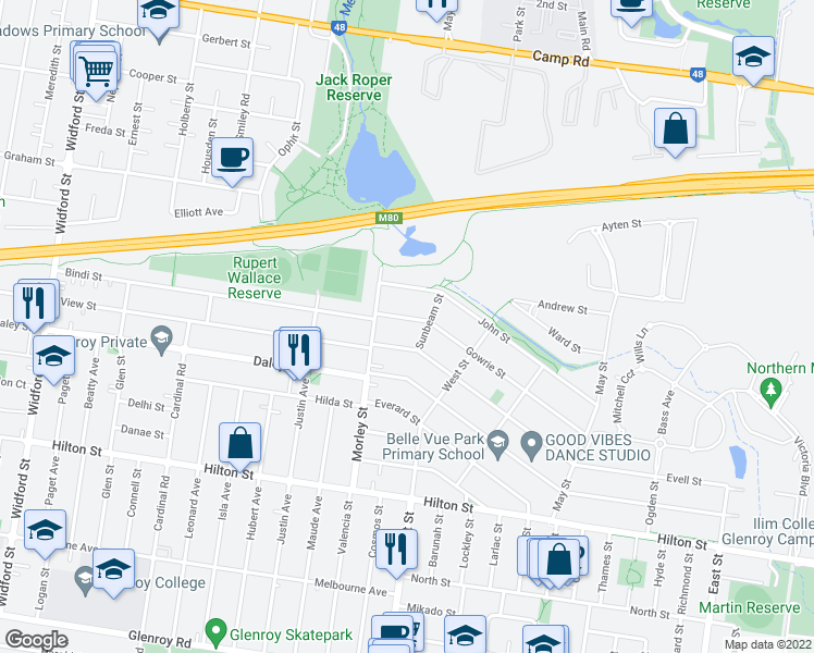 map of restaurants, bars, coffee shops, grocery stores, and more near 111 Gowrie Street in Glenroy