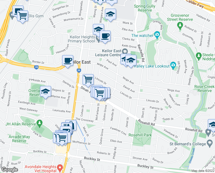 map of restaurants, bars, coffee shops, grocery stores, and more near 77 Lincoln Drive in Keilor East