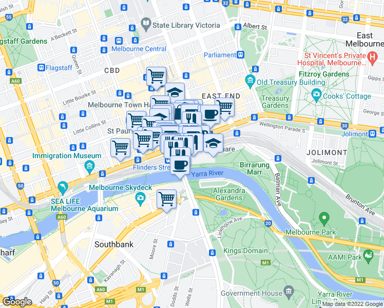 map of restaurants, bars, coffee shops, grocery stores, and more near Russell Court in Melbourne