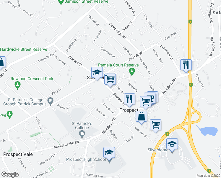 map of restaurants, bars, coffee shops, grocery stores, and more near 101 Stanley St in Summerhill