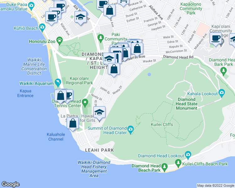 map of restaurants, bars, coffee shops, grocery stores, and more near 3157 Noela Street in Honolulu