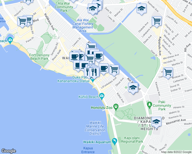 map of restaurants, bars, coffee shops, grocery stores, and more near 2412 Koa Avenue in Honolulu