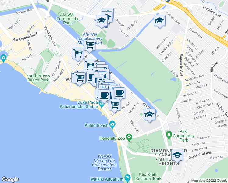 map of restaurants, bars, coffee shops, grocery stores, and more near in Honolulu
