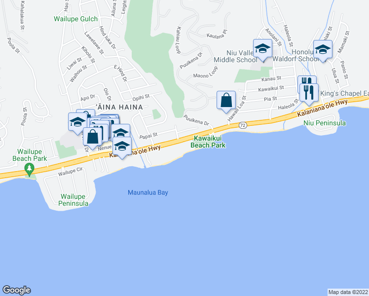 map of restaurants, bars, coffee shops, grocery stores, and more near 5415 Kalanianaole Hwy in Honolulu