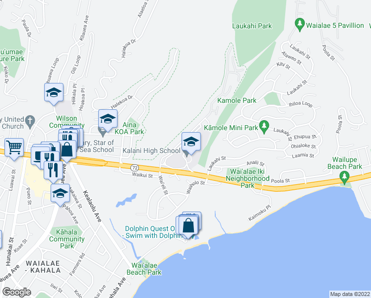 map of restaurants, bars, coffee shops, grocery stores, and more near 1229-1287 Kalaniiki Street in Honolulu