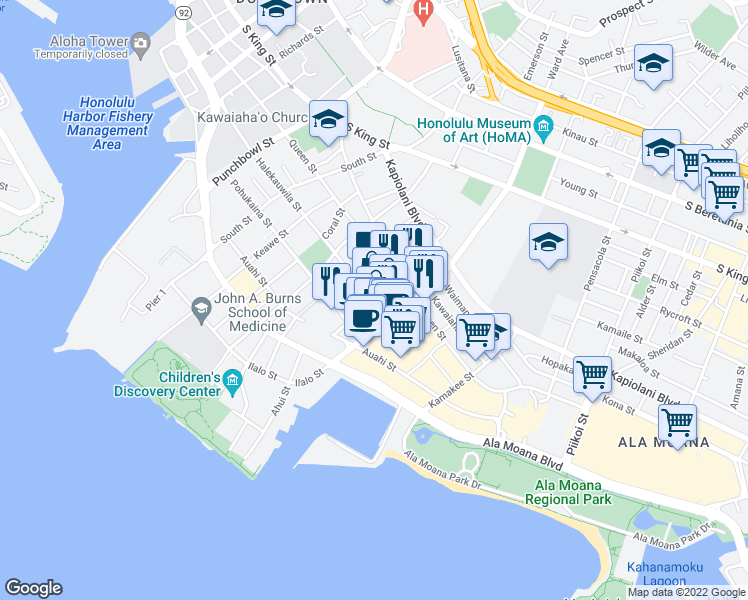 map of restaurants, bars, coffee shops, grocery stores, and more near 404 Ward Avenue in Honolulu