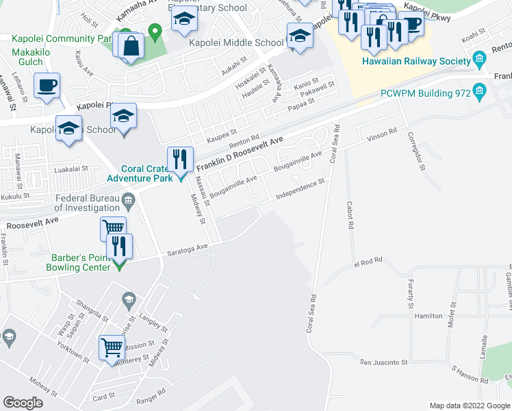 map of restaurants, bars, coffee shops, grocery stores, and more near Independence Ave in Makakilo City