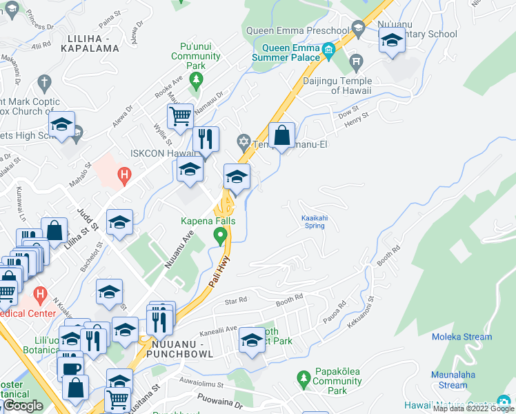 map of restaurants, bars, coffee shops, grocery stores, and more near 2425 Pali Highway in Honolulu