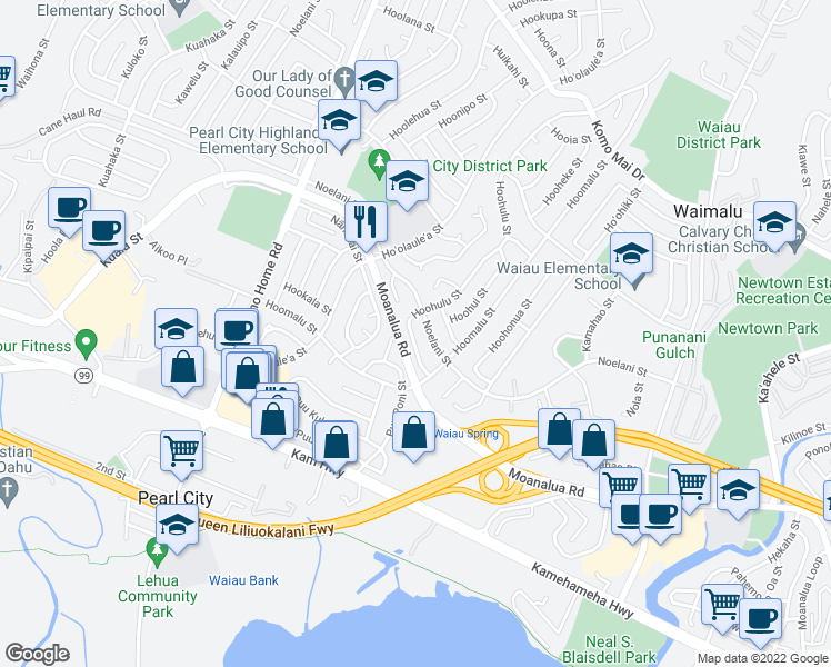 map of restaurants, bars, coffee shops, grocery stores, and more near 1255 Hoohulu St in Pearl City