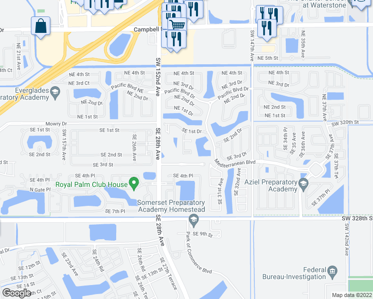 map of restaurants, bars, coffee shops, grocery stores, and more near 2933 SE 2nd St in Homestead