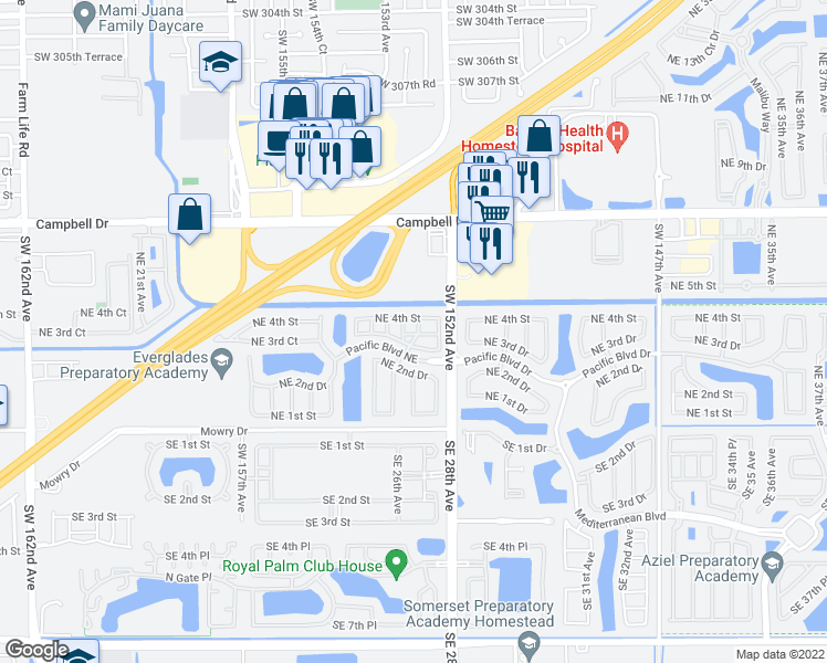map of restaurants, bars, coffee shops, grocery stores, and more near 2650 Northeast 3rd Drive in Homestead