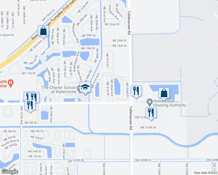 map of restaurants, bars, coffee shops, grocery stores, and more near 1046 Northeast 42nd Avenue in Homestead