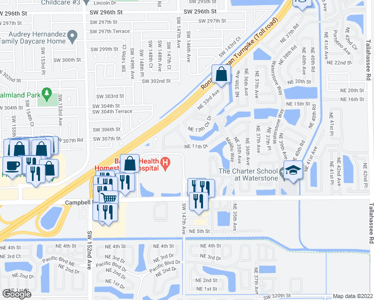 map of restaurants, bars, coffee shops, grocery stores, and more near 3251 NE 11th Dr in Homestead