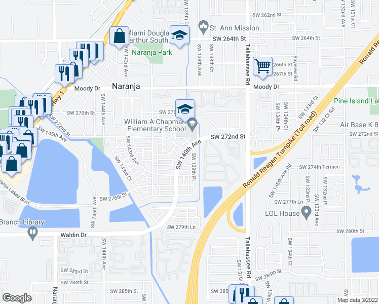 map of restaurants, bars, coffee shops, grocery stores, and more near 13987 SW 272nd St in Homestead