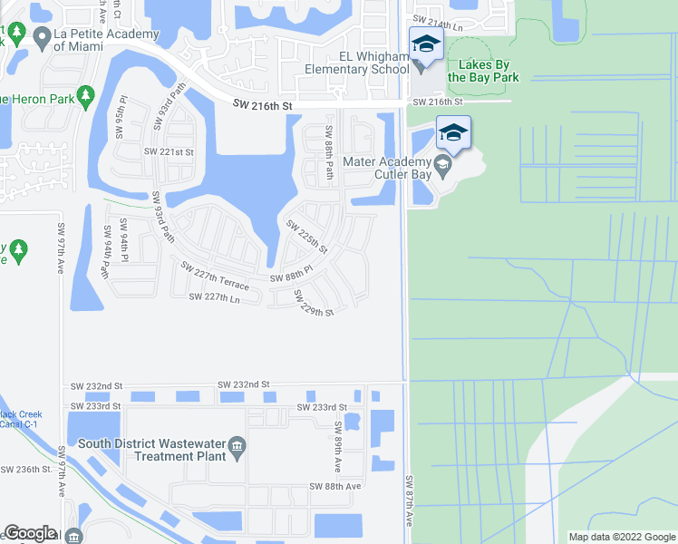 map of restaurants, bars, coffee shops, grocery stores, and more near 2 Southwest 88th Place in Cutler Bay