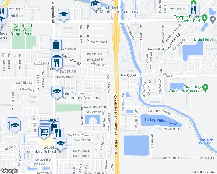map of restaurants, bars, coffee shops, grocery stores, and more near 22801 Southwest 107th Avenue in Miami