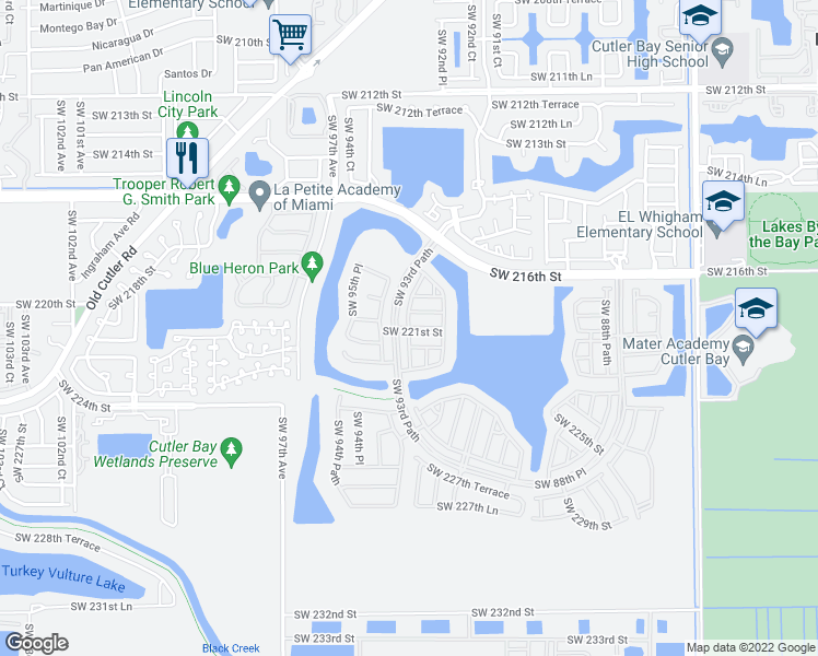 map of restaurants, bars, coffee shops, grocery stores, and more near SW 221st St in Cutler Bay