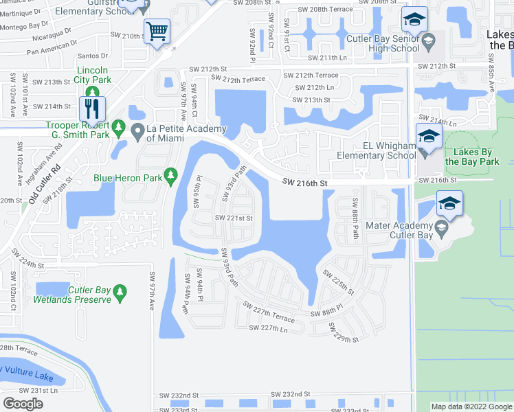map of restaurants, bars, coffee shops, grocery stores, and more near 21558 Southwest 92nd Place in Cutler Bay