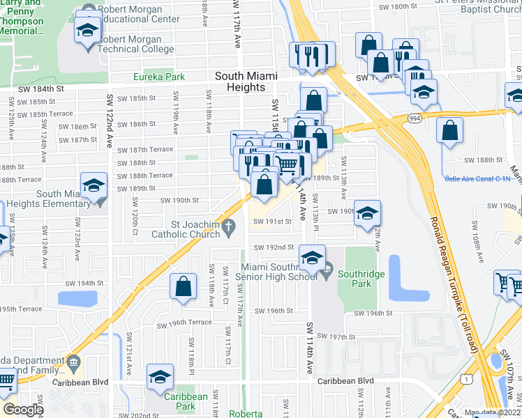 map of restaurants, bars, coffee shops, grocery stores, and more near 11471 Southwest 191st Street in Miami