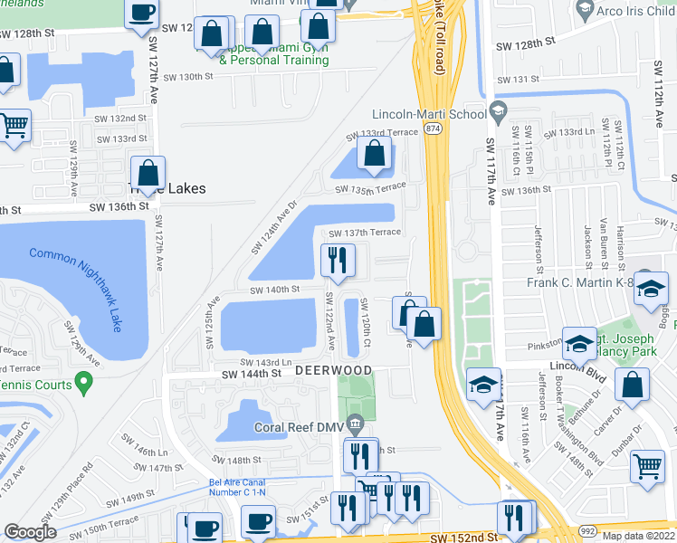 map of restaurants, bars, coffee shops, grocery stores, and more near 13988 SW 122nd Ct in Miami
