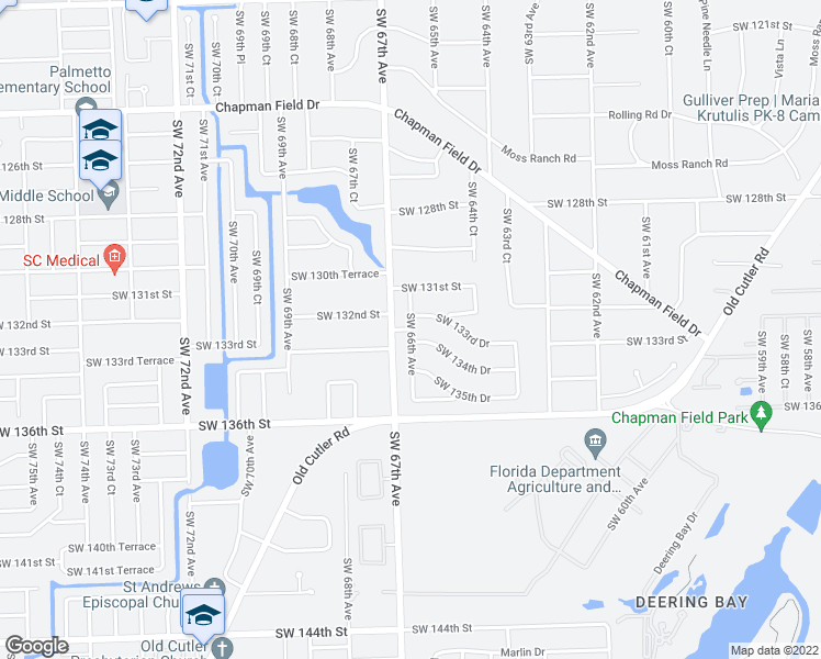 map of restaurants, bars, coffee shops, grocery stores, and more near Southwest 133rd Street in Miami
