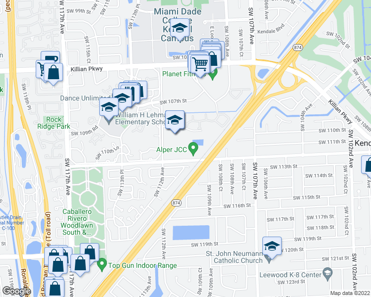 map of restaurants, bars, coffee shops, grocery stores, and more near Southwest 112th Street in Miami