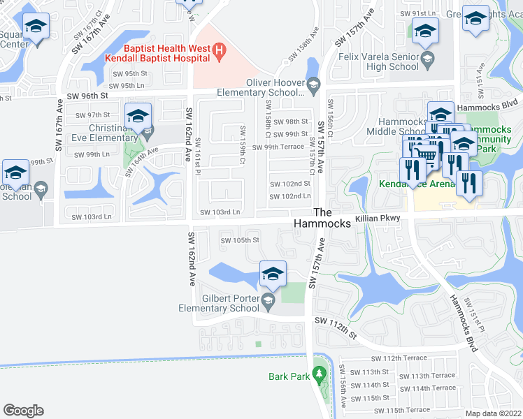 map of restaurants, bars, coffee shops, grocery stores, and more near SW 103rd Ln in Miami
