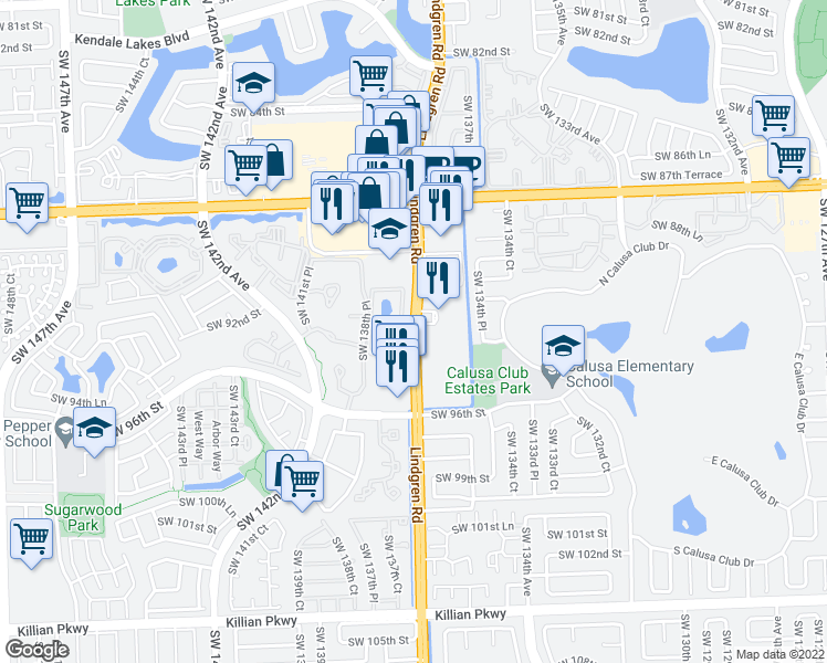 map of restaurants, bars, coffee shops, grocery stores, and more near 9351-9359 Lindgren Road in Miami