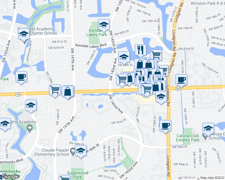 map of restaurants, bars, coffee shops, grocery stores, and more near Southwest 138th Place in Miami