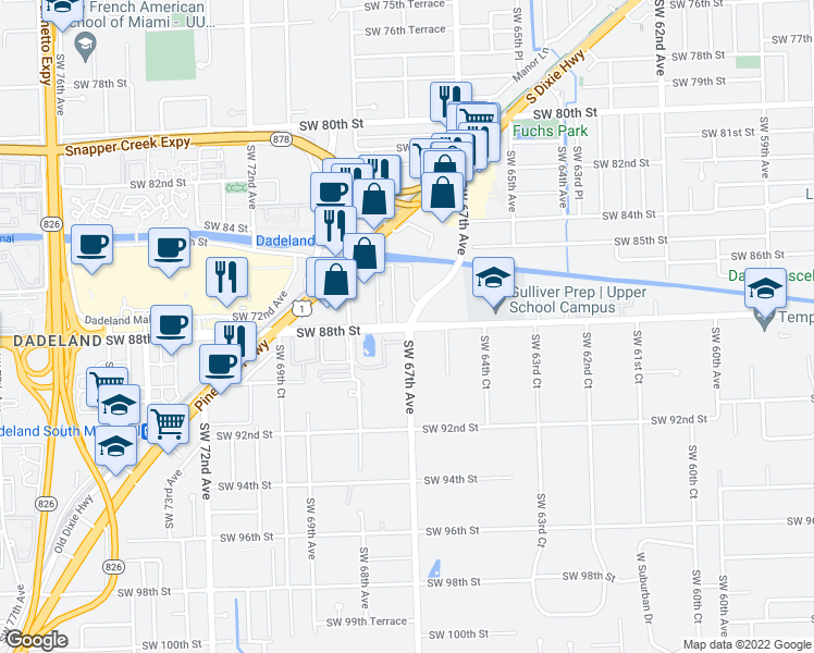 map of restaurants, bars, coffee shops, grocery stores, and more near 6763 N Kendall Dr in Miami