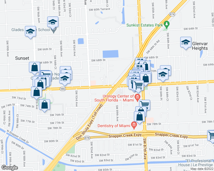 map of restaurants, bars, coffee shops, grocery stores, and more near 8971 Sunset Drive in Miami