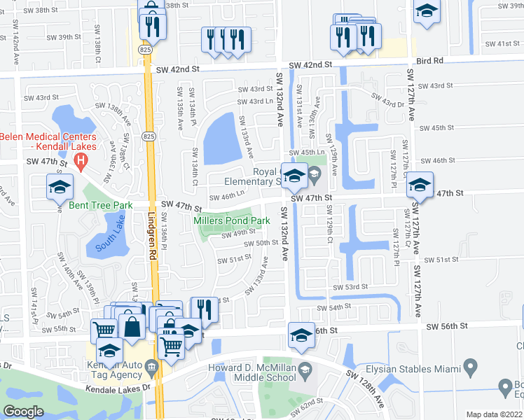 map of restaurants, bars, coffee shops, grocery stores, and more near SW 133rd Ave in Miami