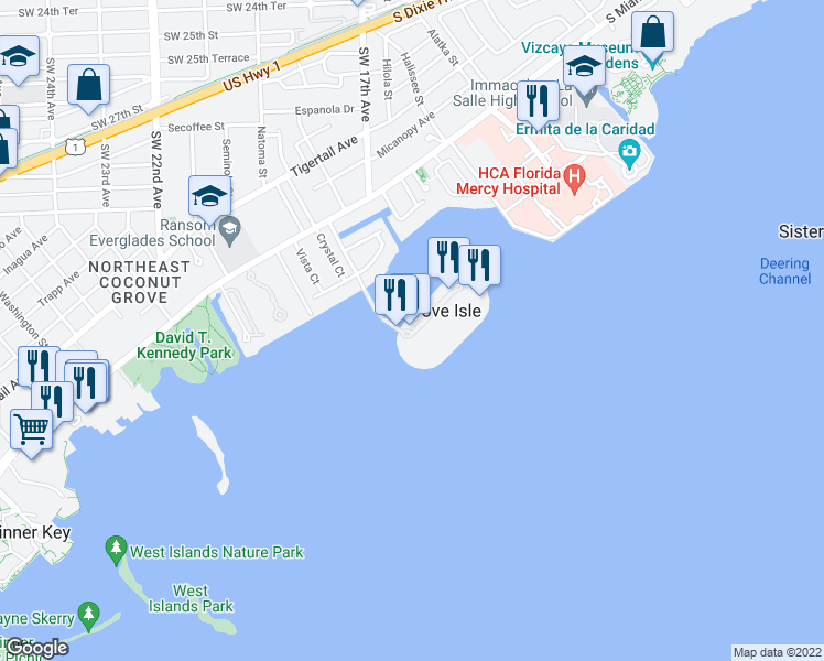 map of restaurants, bars, coffee shops, grocery stores, and more near 1 Grove Isle Drive in Miami