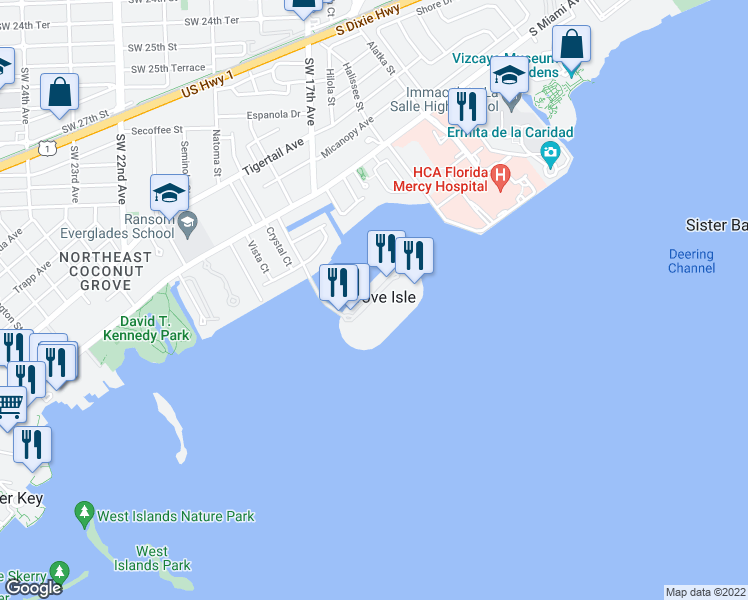 map of restaurants, bars, coffee shops, grocery stores, and more near 2 Grove Isle Drive in Miami