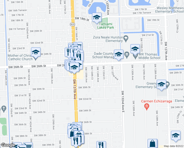 map of restaurants, bars, coffee shops, grocery stores, and more near SW 134th Ct in Miami