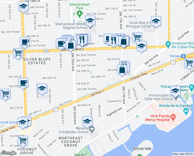 map of restaurants, bars, coffee shops, grocery stores, and more near 1900 SW 24th Terrace in Miami