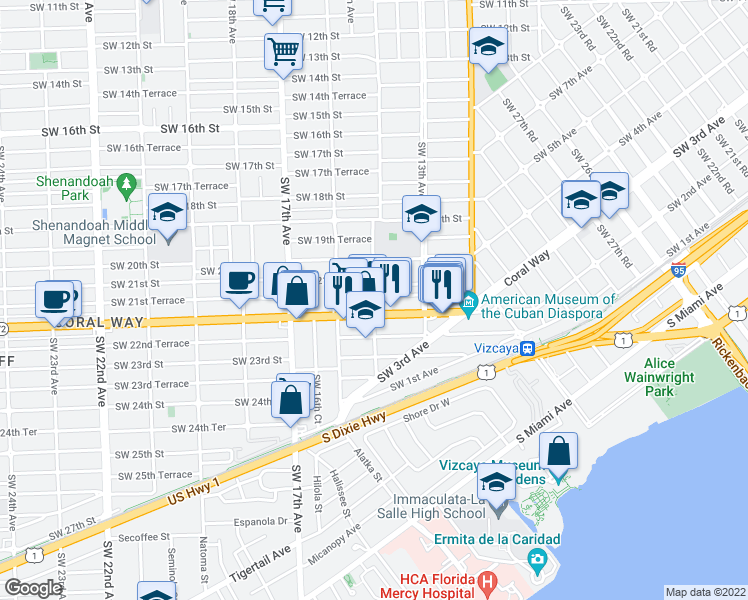 map of restaurants, bars, coffee shops, grocery stores, and more near 2161 SW 14th Ave in Miami