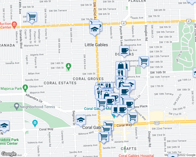 map of restaurants, bars, coffee shops, grocery stores, and more near Zamora Ave in Coral Gables