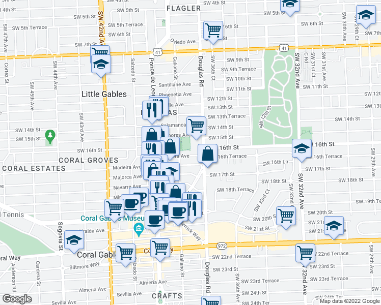 map of restaurants, bars, coffee shops, grocery stores, and more near 28 Zamora Ave in Coral Gables