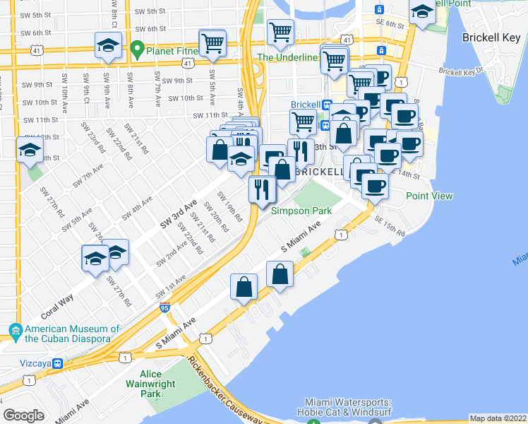 map of restaurants, bars, coffee shops, grocery stores, and more near 1818 Southwest 1st Avenue in Miami